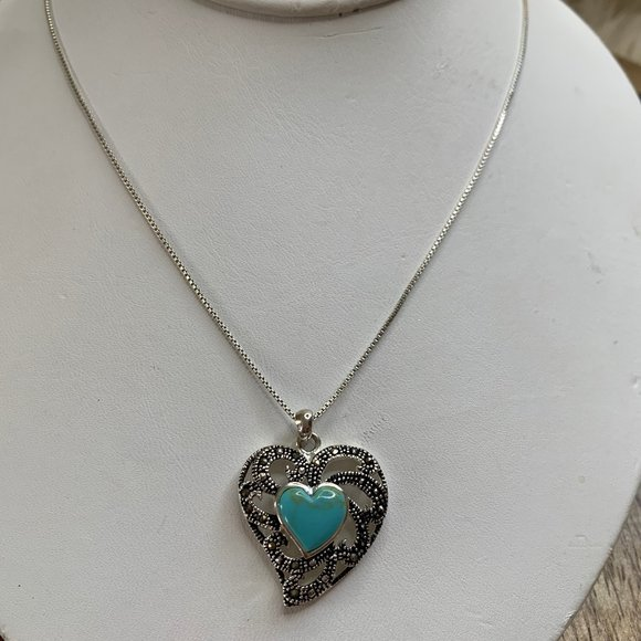 SALE!! 925 Marcasite & Turquoise Heart Necklace